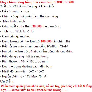 Kobio SC700 - Máy chấm công thẻ từ